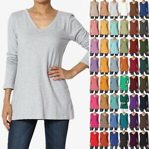 TheMogan S 3XL V Neck Long Sleeve Top Stretch Cotton Turtle Slim Fit T Shirt $12.99