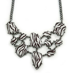 Black White Zebra Print Bib Style Statement Necklace In Black Tone Metal - 39cm