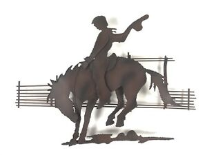 Mid Century Curtis Jere Metal Wall Sculpture Of Riding Cowboy On A Horse