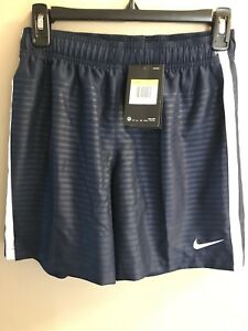 WOMENS NIKE SHORTS DRI FIT Size S NAVY BLUE WHITE 646611 Soccer Gym Running NWT