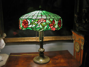 ANTIQUE R. WILLIAMSON & CO STAINED  LEADED GLASS LAMP ca. 1910