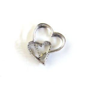 Fine 10K White Gold Diamond Floating Double Heart
