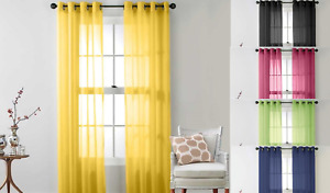ELEGANCE 1PC SOLID VOILE SHEER WINDOW DRESSING CURTAIN GROMMET PANEL DRAPES