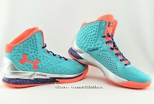 Under Armour Team Curry 1 -SIZE 15 - 1275292-389 Orange UA Select Camp Turquoise