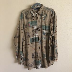 Rare Vtg Polo Ralph Lauren Outdoorsman Rivermans Journal Shirt Pwint Sport L
