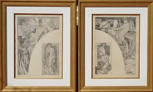 Two Alphonse Mucha Lithograph Posters From Figure Decoratives 1905 Authentic.