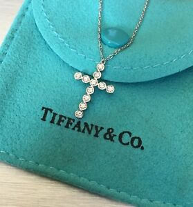 Genuine Tiffany & Co Jazz Collection Platinum & Diamond Cross Necklace