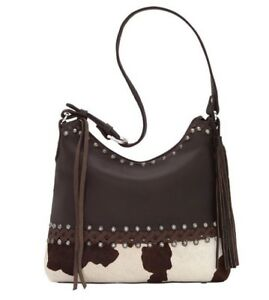 NWT! AmEriCAN WeSt PONY WILD HORSES Cowhide BROWN  Leather Handbag! Ret $264!