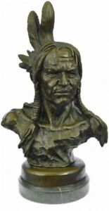 Native American Indian Chief Warrior Sculpture Bronze Bust Statue Marble Mounted