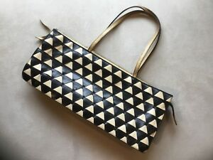 MUI MUI Vintage Bag Black & Tan Woven Leather Pattern Med Made In Italy
