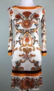 Gucci Orange Brown Seashell Dress Size 38 US 2 XS Ivory Bodycon Resort  $1500