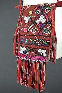 Vintage Bohemian Small Bag RedBurgundy Hippie fringes Cross Body Hand Made