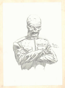 Red Skull Pencil Drawing - 2014 Signed art by David Finch