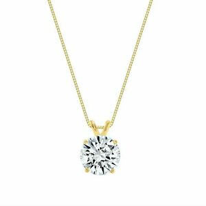 1.25ct Created Diamond Pendant 14K Solid Yellow Gold Solitaire Charm 7mm