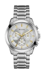 Bulova Men's Chronograph Silver Dial Silver-Tone Bracelet 40mm Watch 96A177