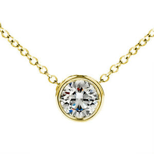 14K Yellow Gold 0.40 ct Round Diamond Solitaire Bezel Pendant & Necklace Chain