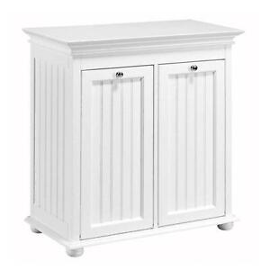 Double Tilt Out Hamper 27 x 13 in. Hampton Harbor Wood Laundry Room Storage NEW