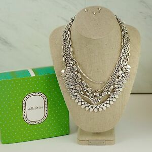 Stella and Dot Sutton Statement Necklace Silver