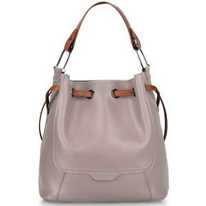 Clearance Sale - S-ZONE Women's Genuine Leather Shoulder Bucket Bag Crossbody To