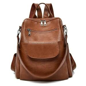 Women fashion brown washed pu leather designer backpack best waterproof bookbag