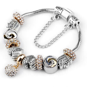Antique Silver Crownamp;Angle Wings Heart Beads European Crystal Charm Bracelet $3.99