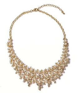 VK Accessories Statement Necklace Gold Gorgeous Collar Bib Refinement Diamante J