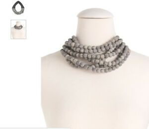 Fairchild Baldwin Handmade In Italy Leather  Multi Row Necklace GreyBlack