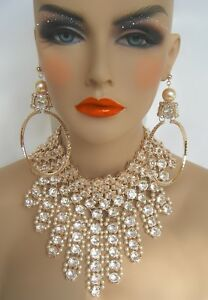 GOLD STATEMENT RHINESTONE CREAM PEARL NECKLACE SET PAGEANT BRIDAL DRAG QUEEN