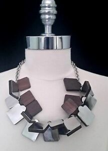 Lela Rose Statement Chainlink Bib Necklace with Wooden Silver Square Pendants