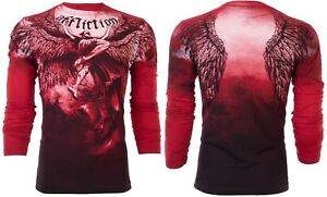 AFFLICTION Mens LONG SLEEVE T-Shirt UPWARD Tattoo RED Motorcycle Biker UFC $68
