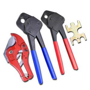 Pex Crimper Set 12 34 Tools & 1-58 Ratchet Cutter W Go No Go Crimp Plumbing  $59.90