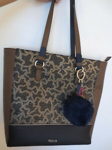 TOUS Large Tote Bag Brown Black and Canvas Pattern with TOUS keyring! NWT.