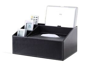 Wooden Leather Table Organizers For Tissue Gadgets Multifunctional Storage Boxes