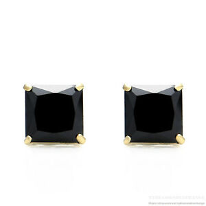 Princess Cut Created Black Diamond Stud Earrings Square Real 14K Gold 0.36ct-6ct
