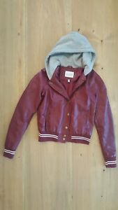 Girls Faux Leather Bomber Jacket wHoodie by DELIA'S Size Medium - Super Cute!!