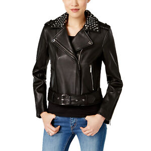 MICHAEL Michael Kors Leather Studded Moto Jacket NWOT (Black X-Small)