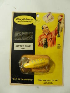 VINTAGE FISHING LURE- FRED ARBOGAST JITTERBUG- NEW OLD STOCK ON CARD