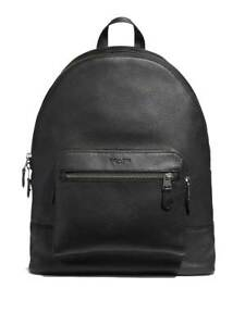 BRAND NEW MEN'S COACH (F23247) WEST BLACK PEBBLED LEATHER BACKPACK BAG