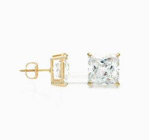 1.50ct Princess Created Diamond Earrings Square Stud 14K Yellow Gold Screw-Back