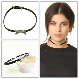 Alexis Bittar Black Leather Crystal Encrusted Origami Bow Necklace Choker