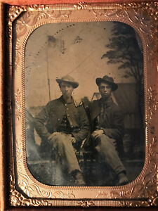 Civil War era 2 Union Soldiers Tintype sitting in front of a camp and US Flag