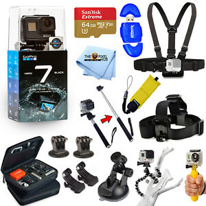 GoPro HERO7 HERO 7 Black All In 1 PRO ACCESSORY KIT W 64GB SanDisk + MUCH MORE