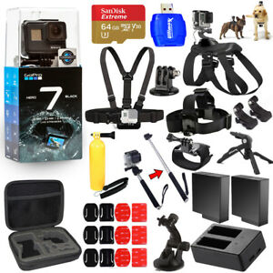 GoPro HERO7 HERO 7 Black All In 1 MEGA ACCESSORY KIT W 64GB Sandisk + MUCH MORE
