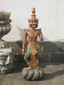 ANTIQUE STATUE FROM TEMPLE SCULPTURE THAI WOOD AND MOSAIC XIXsec. SINGLE 41 5
