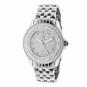 Centorvm Men's 12ct TDW White Diamond Midsize Watch Metal Band plus Extra