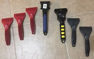 Lot of 7 New Ice Scrapers - Various, Ribbed, Foam Handle Grip, Plastic