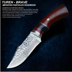 Knife Hunting Skinning Carving Military Damascus Steel Army Rabbit Fixed Blade
