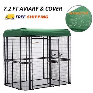 Large Bird Cage w Cover Outdoor Walk in Aviary Cage Waterproof Roof Heavy Duty