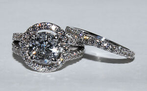 GIA Certified Diamond Bridal Halo Design Ring 4.10 carat total Round Brillian...