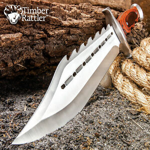 15quot; Wood Full Tang Fixed Blade Bowie Knife w Sheath Rambo Hunting Survival